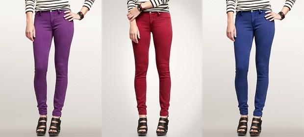 джинсы женские мода 2018-2019: леггинсы фиолетовые красные синие