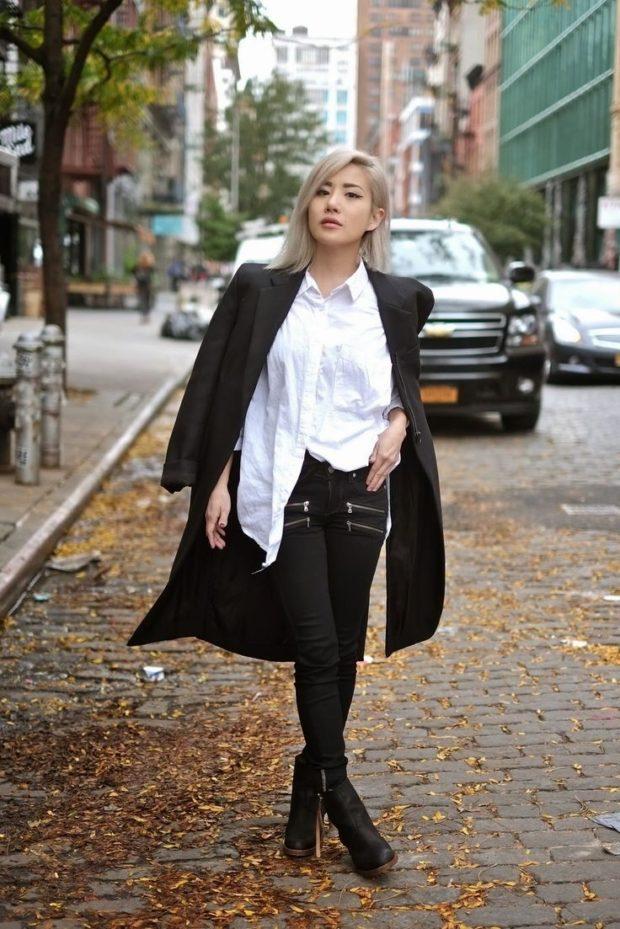 джинсы женские мода 2018-2019: черные скинни под рубашку белую