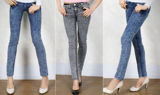 джинсы женские мода 2018-2019: серые зауженные