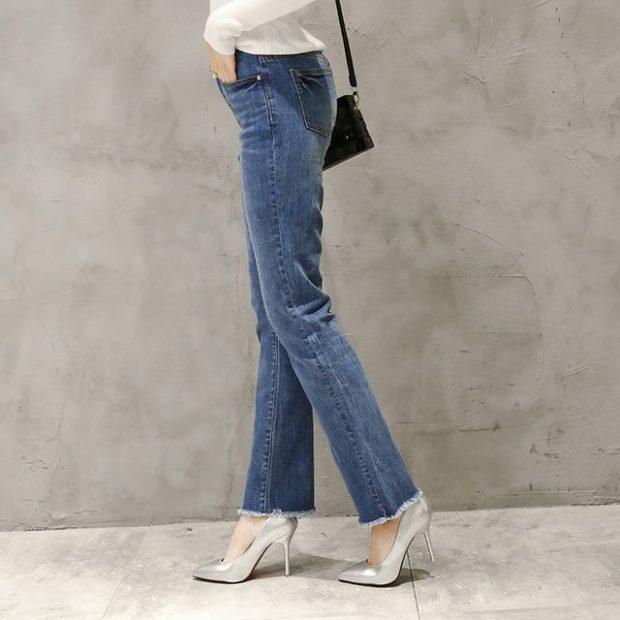 джинсы женские мода 2018-2019: синие официальные