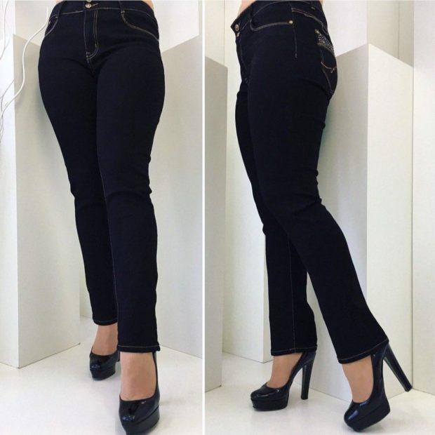 джинсы женские мода 2018-2019: черные официальные