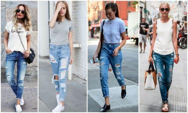 какие джинсы в моде в 2018-2019 женские: бойфренды синие голубые с подворотом рваные