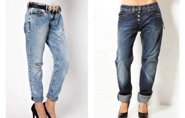 какие джинсы в моде в 2018-2019 женские: бойфренды синие серые с подворотом