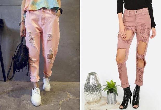 какие джинсы в моде в 2018-2019 женские: рваные розовые подкатанные