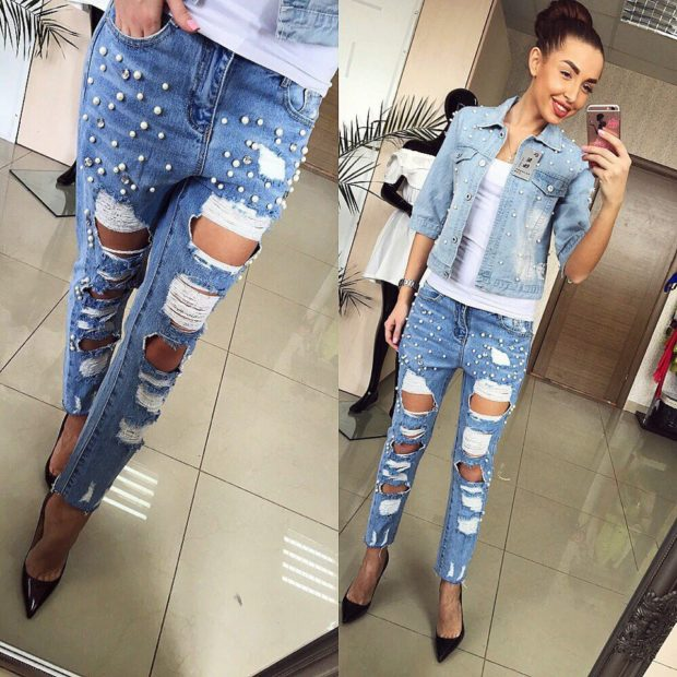 какие джинсы в моде в 2018-2019 женские: рваные по косточку с бусинками