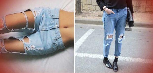 какие женские джинсы в моде: рваные голубые синие короткие