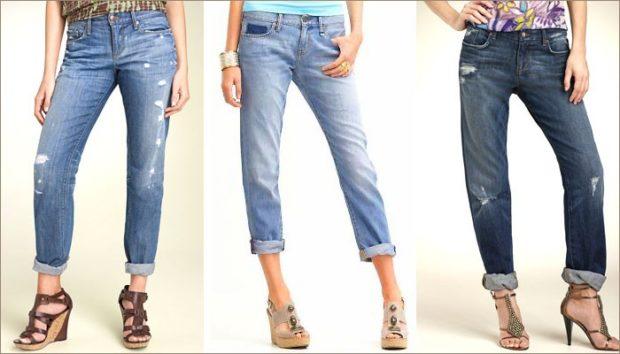 какие женские джинсы в моде: с отворотом синие голубые темно-синие