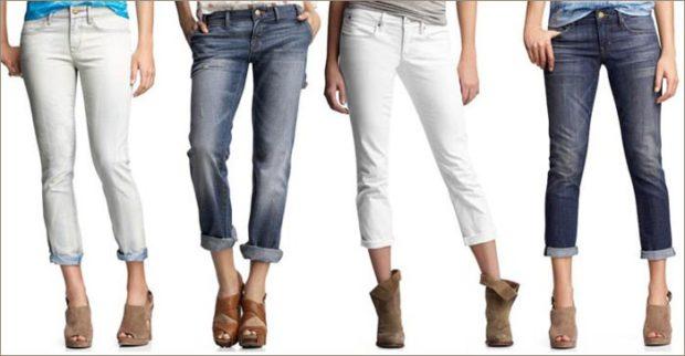 какие джинсы в моде: с отворотом белые серые синие выше косточки