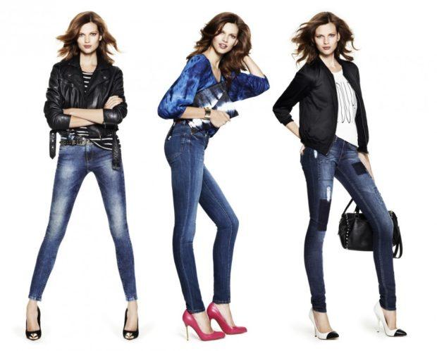 джинсы женские мода 2018-2019: потертые зауженные