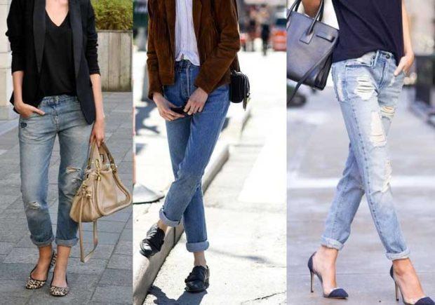 какие джинсы в моде: с отворотом серые рваные синие голубые