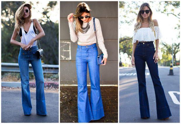 какие джинсы в моде: клеш синие голубые