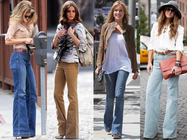 какие джинсы в моде: клеш синие кофейные пепельно-голубые