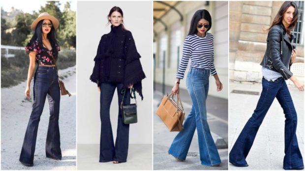 какие джинсы в моде в 2018-2019 женские: клеш темное-синие голубые синие