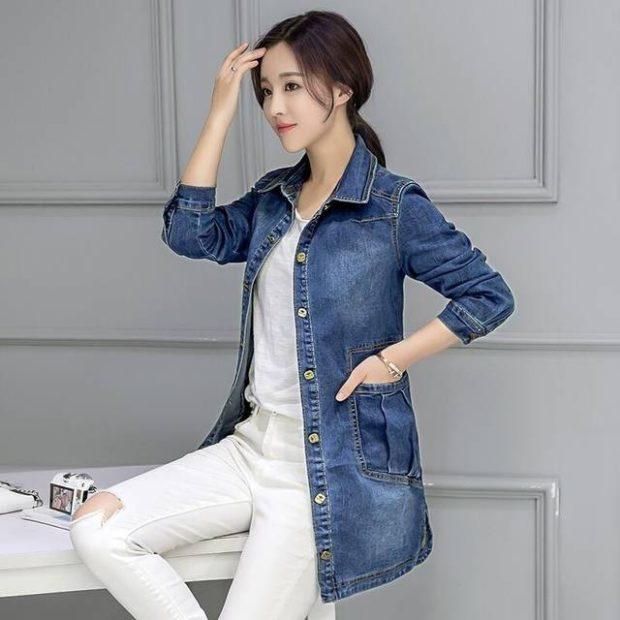 джинсовка синяя белые