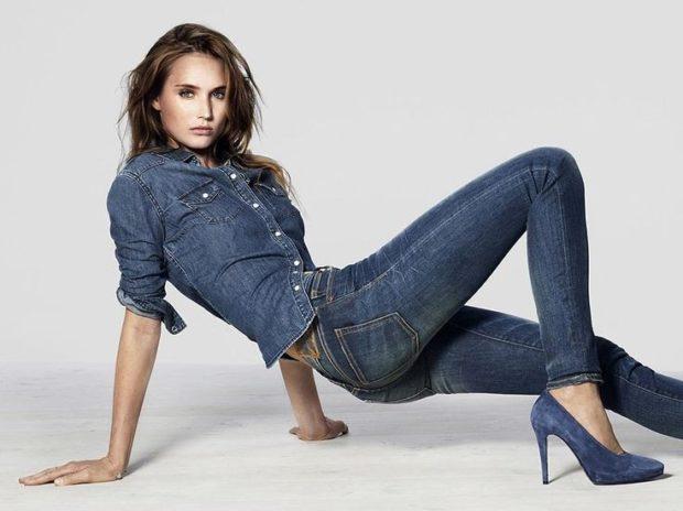 костюм джинсовый серо-синий