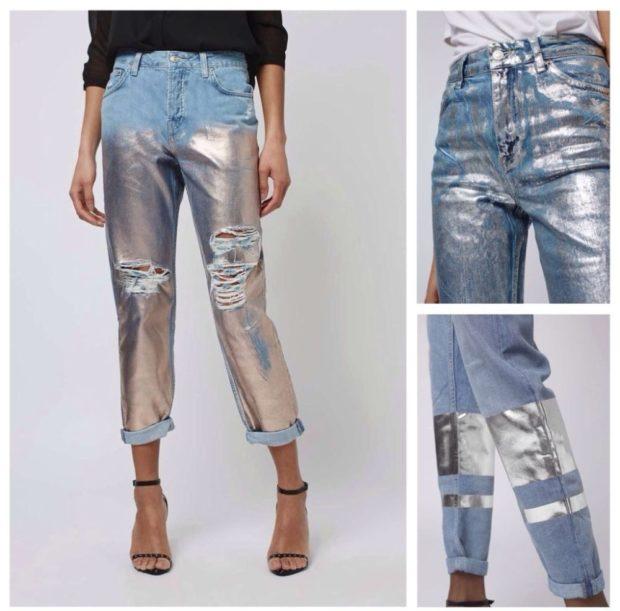 какие джинсы в моде: металлик короткие