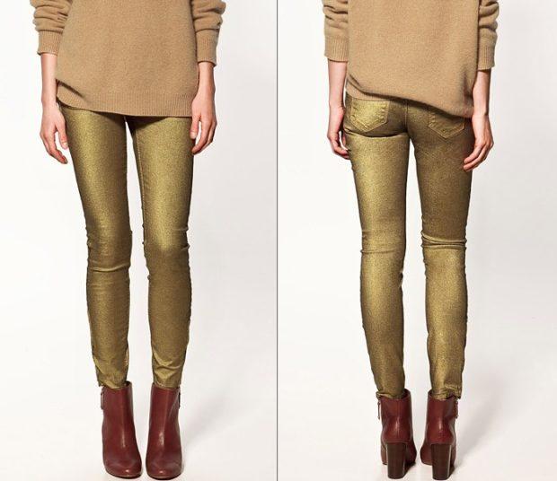 какие джинсы в моде в 2018-2019 женские: металлик золотые дудочки