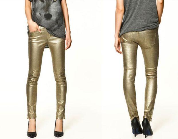 какие джинсы в моде: металлик золотые