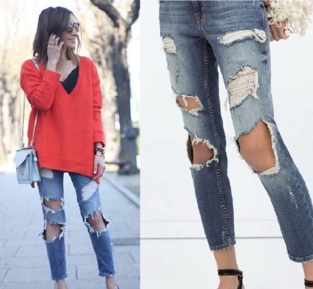 джинсы женские мода 2018-2019: короткие с дырками
