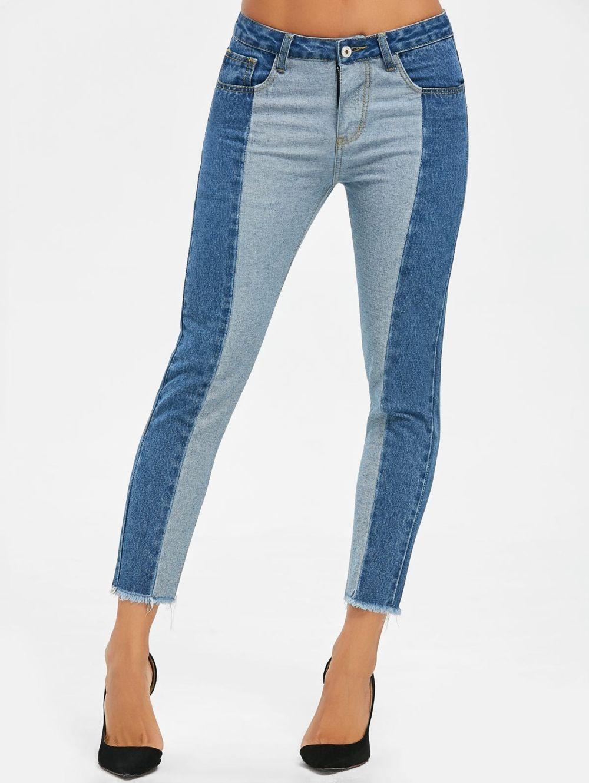 Двухцветные джинсы короткие синие  с голубым