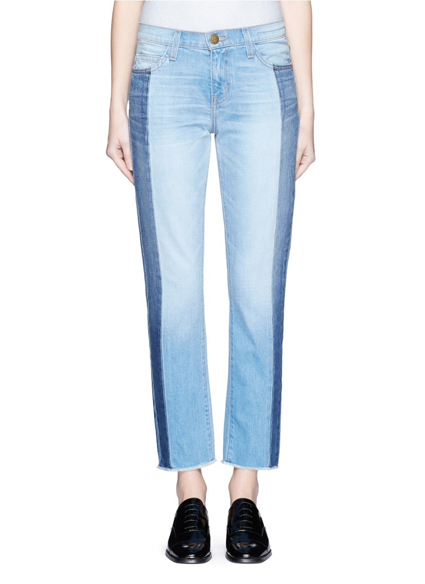 Двухцветные джинсы голубые с синим