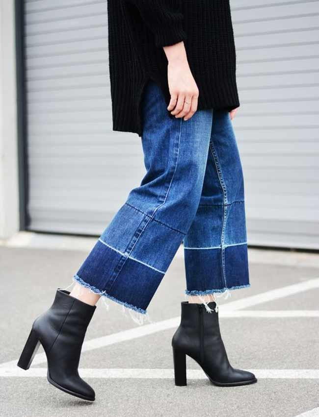 Двухцветные джинсы синие и темно-синие короткие
