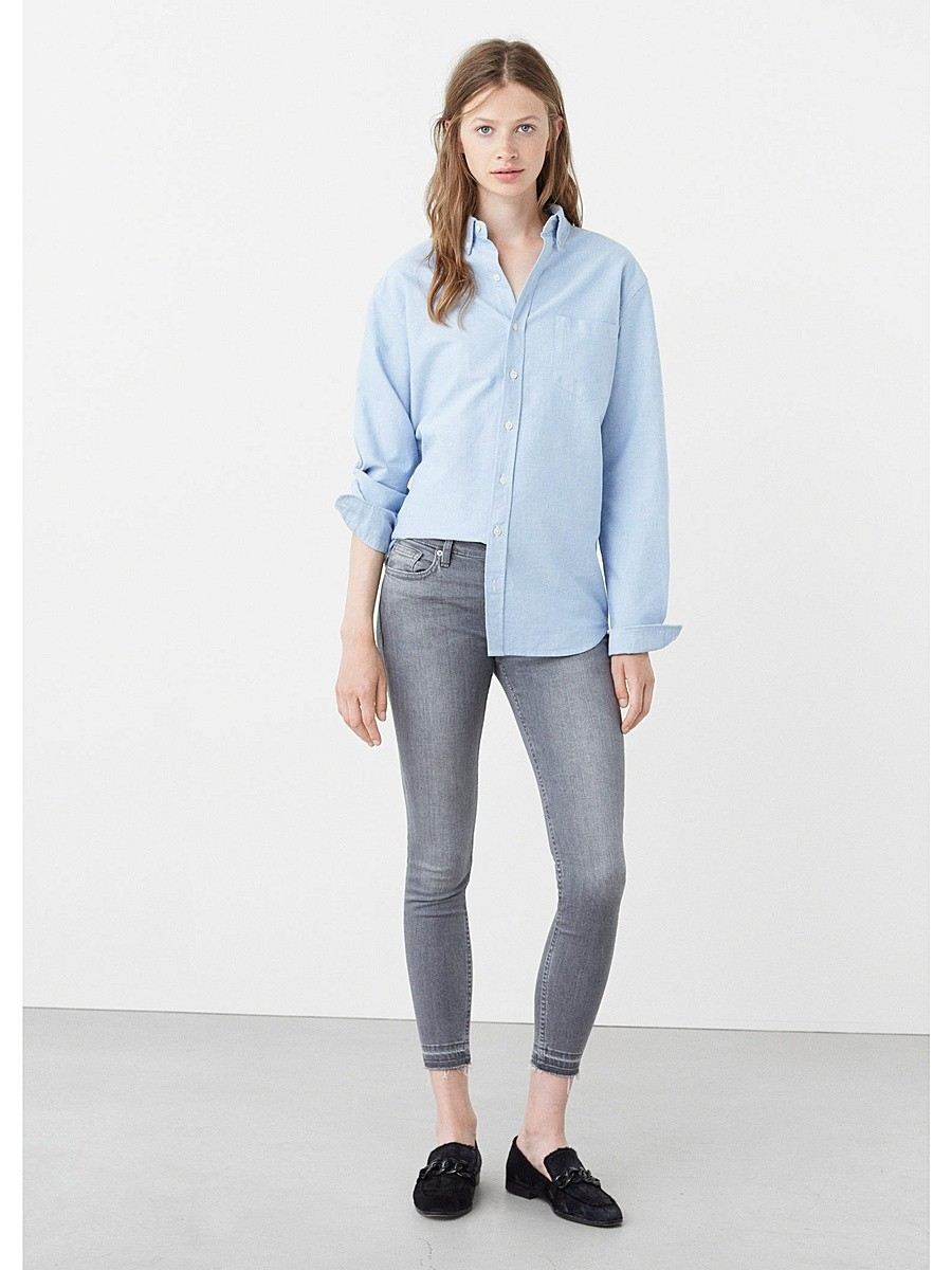 укороченные джинсы  серые