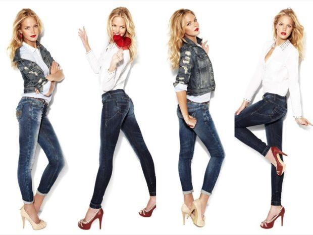 джинсы женские мода 2018-2019: зауженные с потертостями