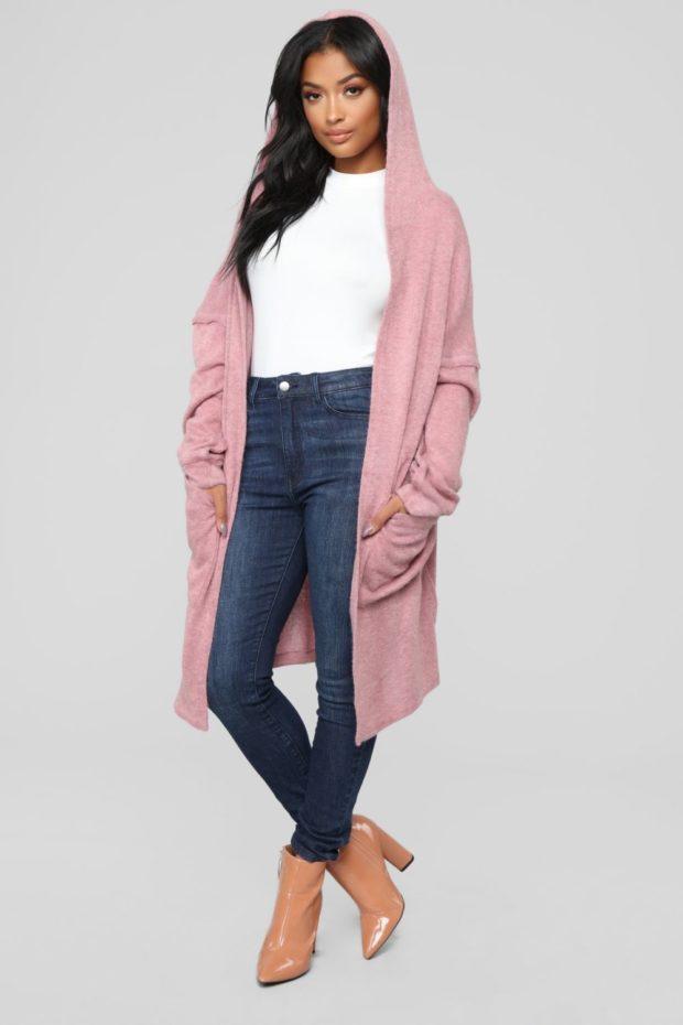 кардиган женский спицами: розовый ниже колена
