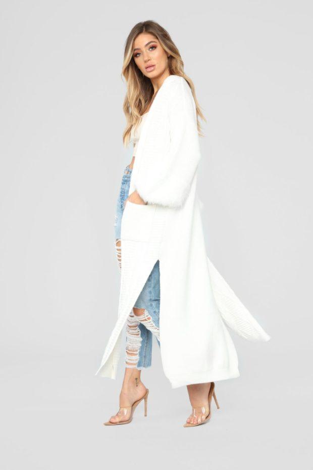 кардиган женский вязаный спицами: белый длинный