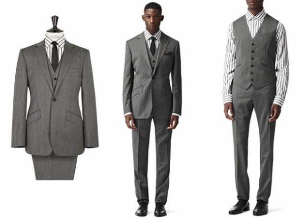 костюм серый тройка