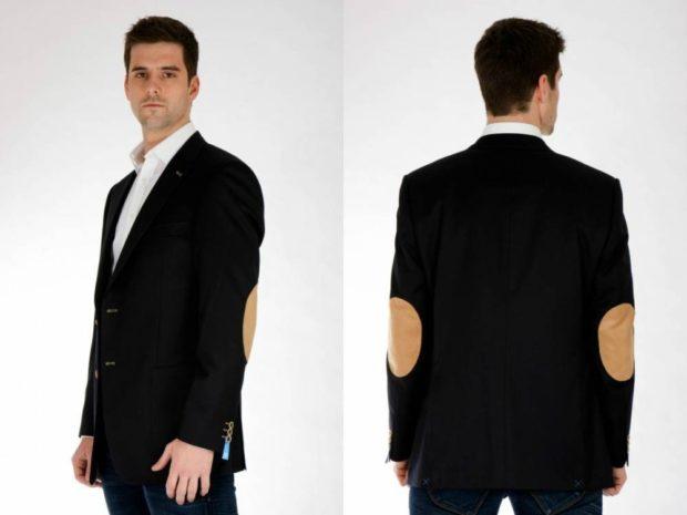 черный костюм пиджак с заплатами