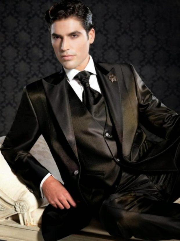 костюм черный ткань блестящая