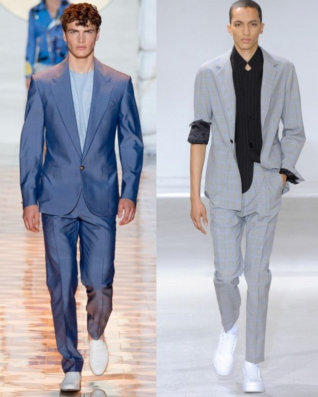 синий костюм молодежный серый с подкатаным рукавом