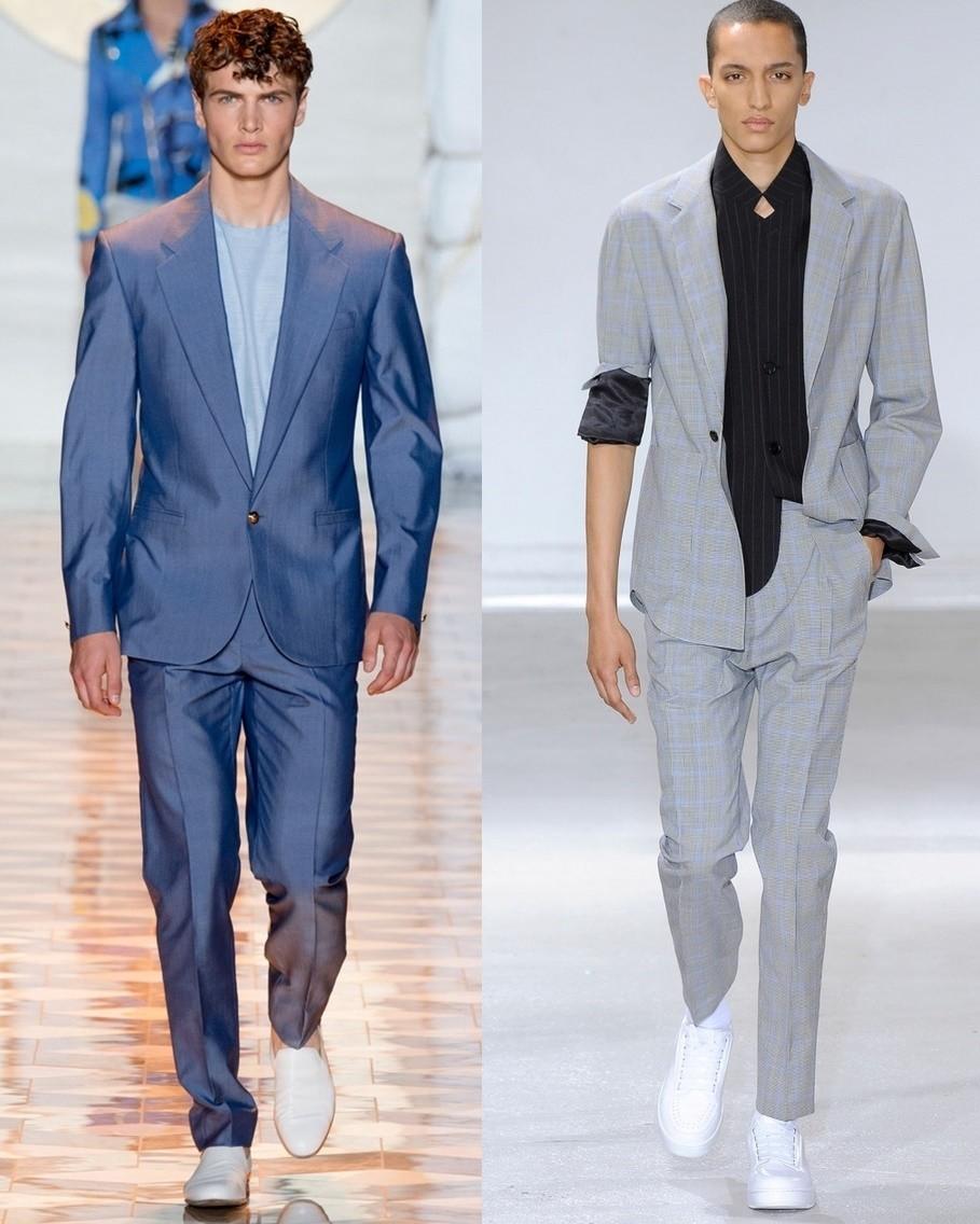 синий костюм молодежный серый с подкатанным рукавом