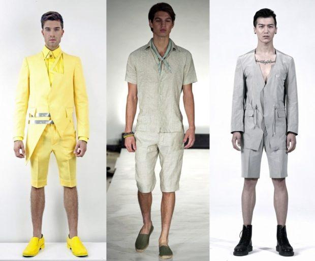 летние костюмы желтый белый серый штаны по колено