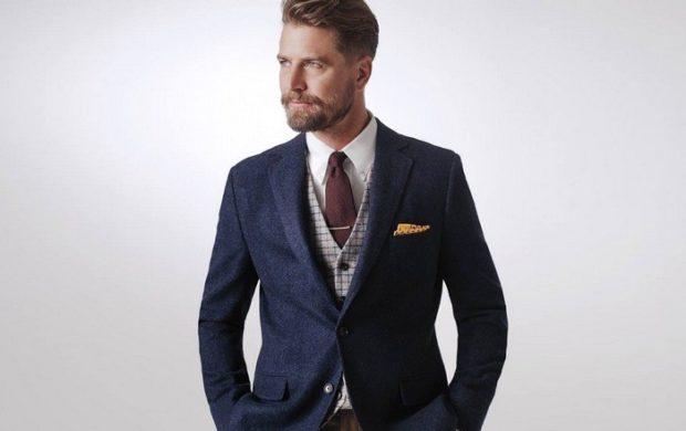 костюм синий жилетка серая