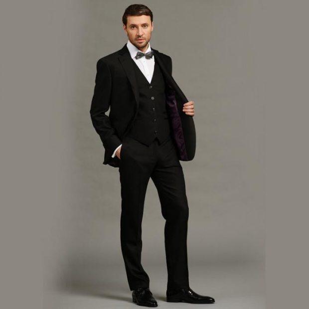 костюм черный классика тройка