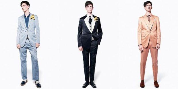 костюм на выпускной для парня 2018-2019: серый черный бежевый с атласными отворотами на воротнике