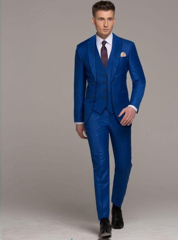 костюм на выпускной для парня 2018-2019: синий тройка