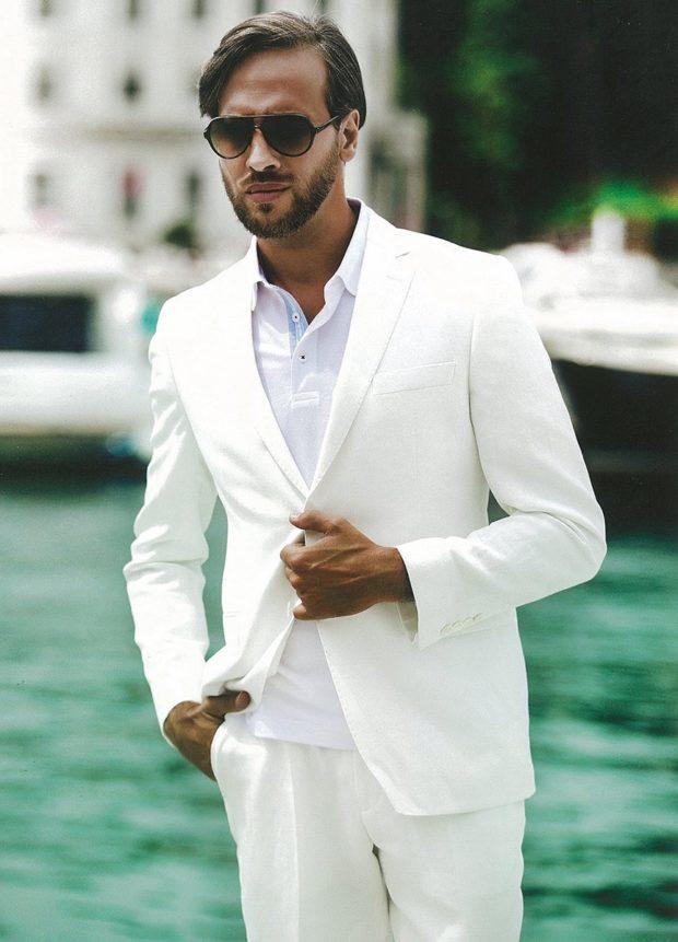 костюм на выпускной для парня 2018-2019: белый