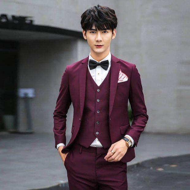 костюм тройка бордовый