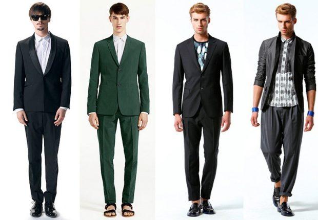 костюм классика черный зеленый черный серый кежуал