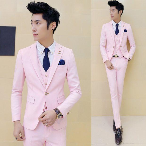 костюм на выпускной для парня 2018-2019: нежно-розовый тройка