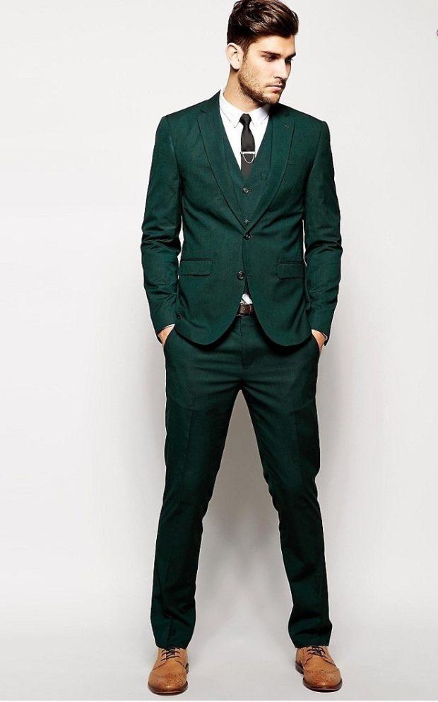 костюм на выпускной для парня 2018-2019: зеленый тройка