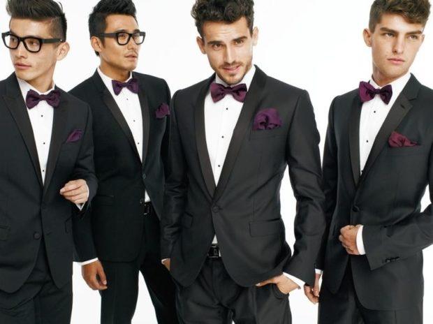 классические костюмы черные с бабочкой галстуком