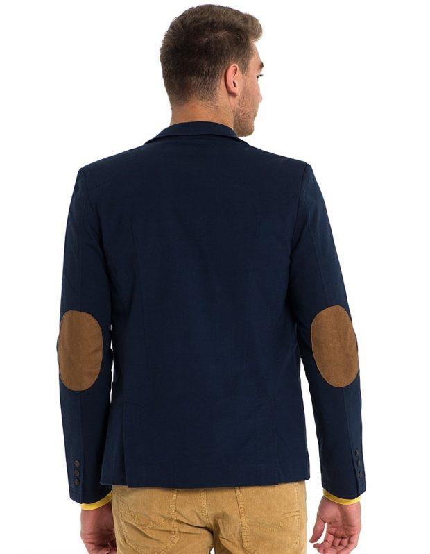 костюм на выпускной для парня 2018-2019: синий пиджак коричневые заплаты штаны коричневые