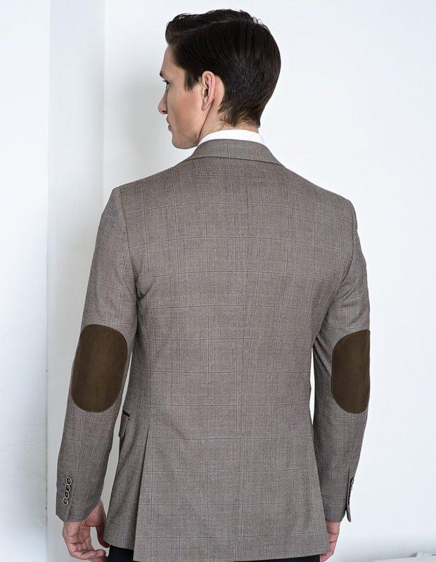 костюм на выпускной для парня 2018-2019: серый пиджак с коричневыми заплатами
