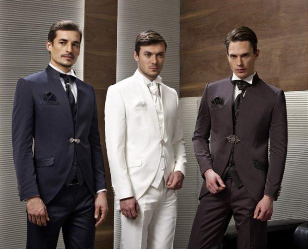 костюм тройка черный белый коричневый