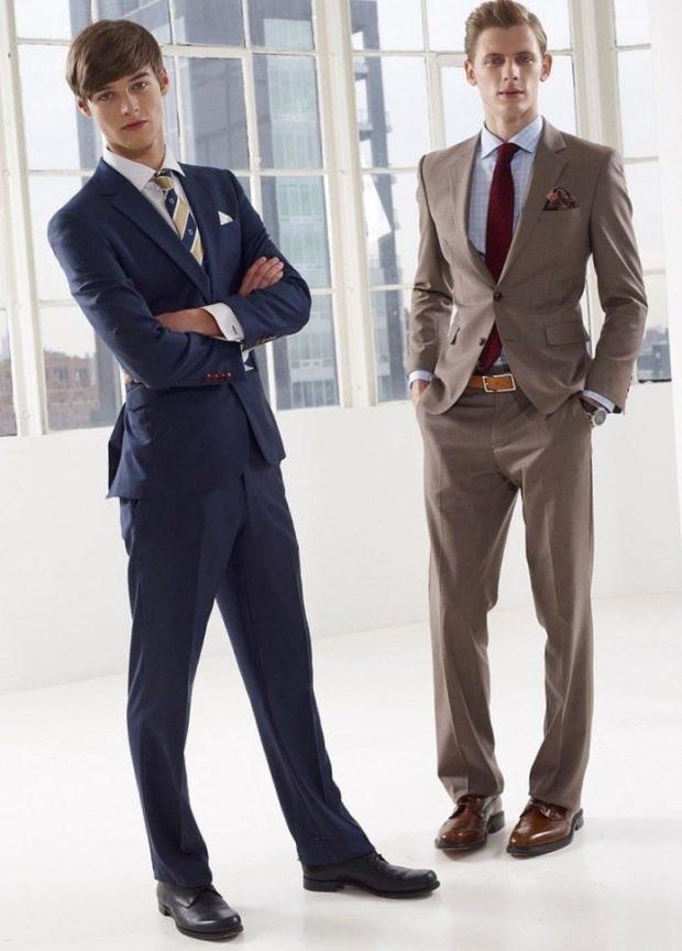 костюм на выпускной для парня 2018-2019: синий классический коричневый классика